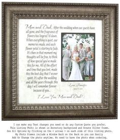 Check out Mother of the Bride Gift, parents wedding gift, After the Wedding When all the Guests have gone, Wedding Gift for Mom and Dad, on photoframeoriginals Gifts For Brides Parents, Thank You Gift For Parents, Wedding Thank You Gifts, Bride Gifts, Gifts For Mom, Gift Wedding, Wedding Cake, Mother Of The Groom Gifts, Mother Of The Bride