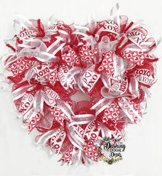Heart Shaped Valentine's Day Ruffle Deco Mesh Front Door Red & White Wreath