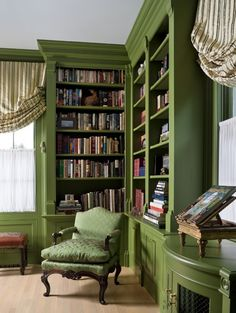Painted bookcases - I especially like bowed cabinet built in.  The green chair is too much green, though.
