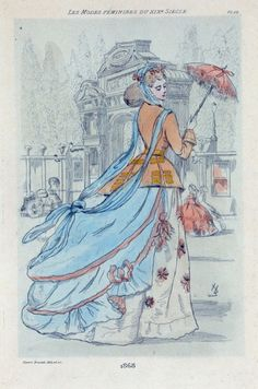 1868 [Women's fashion in nineteenth-century Paris] From New York Public Library Digital Collections.