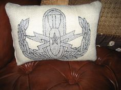 Hand Painted EOD SR Badge on Burlap mini pillow by CreationsbyGena