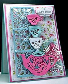 Look at this FABULOUS Tea Set! Love these dies! FRA-DIE 09338, Tea, Card, Girly, America, Thanks, Thank You, Floral, www.cardsbyamerica.blogspot.com/, Sue Wilson, Creative Expressions, Frantic Stamper