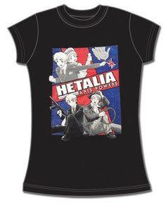 England, Sealand and America Hetalia Girly T-Shirt anime babydoll tee shirt