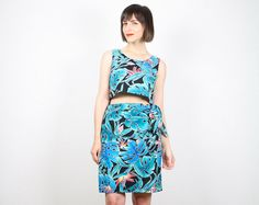 Vintage Tropical Matching Set Teal Blue Black by ShopTwitchVintage, $42.00