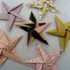 6 stickers étoiles en origami pour décoration murale chambre bébé fille enfant - rose, or, noir
