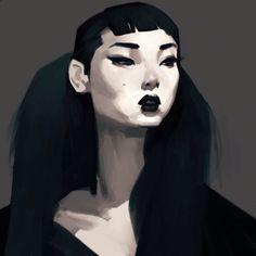 Gotham #digitalpainting #girlportrait #gothgirl #vampire #mulan_bae #yoonyoungbae #samuelyoun #dailysketch #latenightsketch 12/100 by samuelyounart