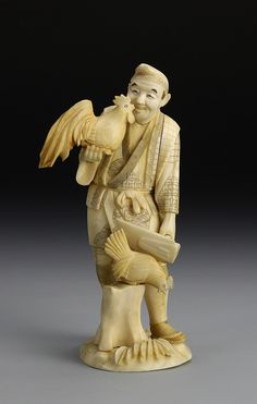 Japan, 19th C., carved ivory figure of a man, with two roosters, one standing on a tree stump, attached to a carved ivory base. Height 6 in. Provenance: From the private collection of Mrs. Pearl K. Jennison, of New London, New Hampshire.