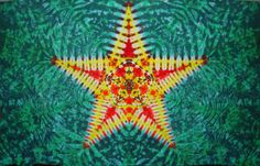 """This one is a 1/2 Bed Sheet size, brand new muslin, ripped from a boldt of Dharma Trading Company's SHEB7, 90"""" Wide Bleached Muslin, hand folded, and dyed~    It is unique, in that most mandalas are 8 point stars, but this one is five~"""