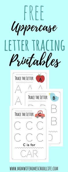 FREE uppercase letter tracing printables! Preschool/Kindergarten.
