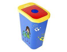 Colegio Positivo, 26 litros con tapa con orificio, con colores y dibujos animados.