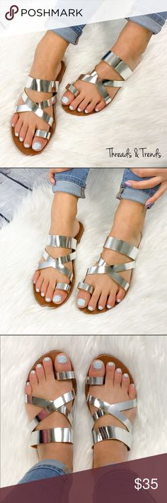Metallic Silver Sandals Classic go to metallic silver strappy sandal. Perfect for casual or dressy look. Pair with maxi dresses or any casual spring summer look. Easy metallic silver color to match anything. Threads & Trends Shoes Sandals