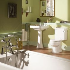 Bathroom: Green/Sage, with peach, cream and natural wood