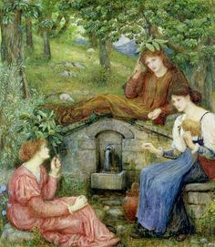 """By a Clear Well with a Little Field"" by Marie Spartali Stillman (1883)"