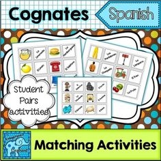 This activity includes 30 cognate matching cards.    Use these cards for icebreaker activities, to assign seats, to pair up students and to play games. These cards can also be used as an introduction to cognates and their use in learning the Spanish language.Each cognate has a card that matches a picture to the Spanish word.YOU MIGHT ALSO LIKE...Spanish Back-to-School and Year-Round Resource Packet Telling Time UnitSpanish Greetings Unit