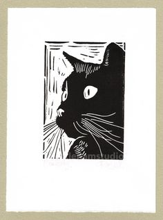 Black Cat Print - titled Curiosity. Original, hand cut linocut, printed on hand press, available in black ink. Signed and titled in pencil by the