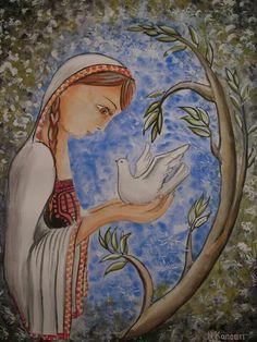 The Messenger,  Watercolors on paper. #bird #olive #olive_tree  #love #life #peace #human #girl #homeland  #palestine #art #artist www.facebook.com/HamzaKanaanOfficial