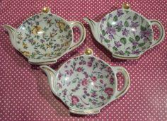crystal Tea Bag Holder | Vintage Floral Chintz Tea Bag Holders....Made by Kudo Toki Fancy China ...