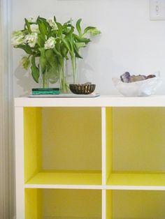 IKEA Kallax - mit Panyl (Folie in allen Farben hier: Neon Gelb)