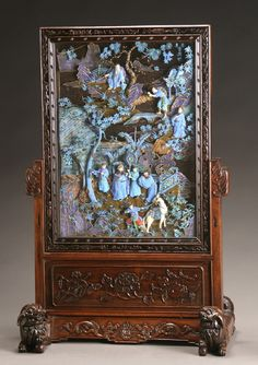 Chinese kingfisher feather panel. Qing Dynasty (1644 - 1912), early 1800s. Carved ivory heads and hands, and ivory horse.
