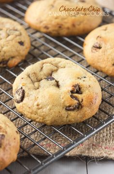 These Chocolate Chip Banana Bread Cookies have all the very best elements of the traditional Banana Bread, but in cookie form! The addition of chocolate chips cut through the sweetness of the banana to create a delicious treat!
