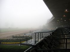Keeneland Racetrack. There's always morning fog over the horse farms.