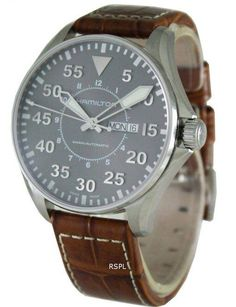 Online watches dealer with discounted prices, Hamilton Khaki Pilot Automatic has Stainless Steel Case, Brown Leather Strap, Automatic Movement, Caliber: ETA Swiss Made Hamilton Khaki Pilot, Field Watches, Stainless Steel Case, Omega Watch, Watches For Men, Crystals, Accessories, Brown Leather, Brown