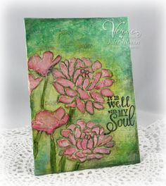 "5 x 7"" mixed-media canvas by Julee Tilman using stencils, acrylics, sprays, light modeling paste, gelatos, watercolors, distress inks and big brush pens.  Sentiment stamps are from Verve.  #vervestamps"