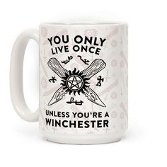 You Only Live Once Unless You're A Winchester - There isn't a better way to show of what you're favorite fandom is than with a cute unique coffee mug! If you love Sam and Dean Winchester with a little Castiel mixed in, you'll love this YOLO Winchester design.