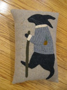 Primitive Folk Art Wool Applique Walking Rabbit by Justplainfolk