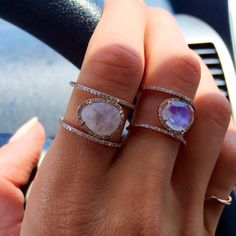 I love moonstone and rose gold! Luna Skye Jewelry rose gold and moonstone double band diamond ring so very beautiful . Jewelry Box, Jewelry Accessories, Fashion Accessories, Fashion Jewelry, Fine Jewelry, Cheap Jewelry, Hipster Jewelry, Raw Stone Jewelry, Gold Jewelry