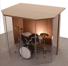 "Drum Booth - Drum Enclosure - Drum Shield ""Silencer"" Studio 6 Black with Door"