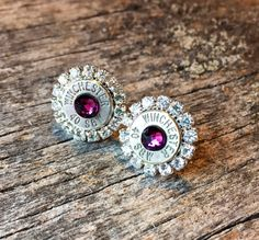 Winchester // Smith and Wesson // Deep Purple // Amethyst // February Birthstone // Handmade Christmas Gift // Southern Earrings // Ammo by WhiskeyDeltaCo on Etsy https://www.etsy.com/listing/484523040/winchester-smith-and-wesson-deep-purple