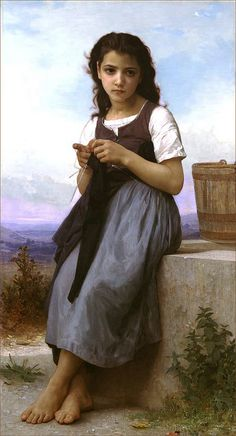 La Tricoteuse (The Little Knitter) 2 Painting by William-Adolphe Bouguereau. William Adolphe Bouguereau, Classic Paintings, Paintings I Love, Beautiful Paintings, Oil Paintings, John William Waterhouse, Munier, Traditional Paintings, Art Moderne