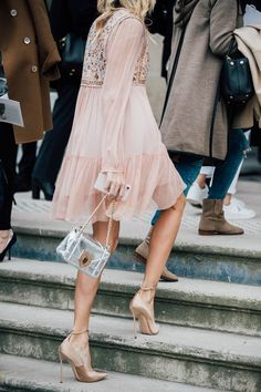Fall 2017 Paris Fashion Week Street Style - March 2017. How Beautiful Is This Blush Pink Outfit! + Silver Dior Bag