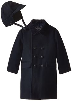 Rothschild Little Boys' Toddler Faux Wool Dressy Coat with Hat, Midnight, 2T. Double breasted. Hat included.