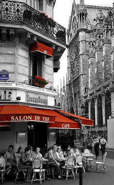 "I gasped out loud when I saw this because I just sat at this EXACT cafe in February! That is Notre Dame to the right and I had a delicious latte in here to escape the freezing cold. Amazing!  heartbeatoz:    (via ""French Cafe at Notre Dame"" Fine Art Print by Andrew Wilson 