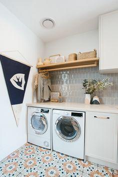 Laundry & Mud Room Reveal - Kyal & Kara : Kyal & Kara Laundry Mud Room, White Internal Doors, Kyal And Kara, Splashback Tiles, Timber Shelves, Laundry Design, Green Tile, White Cabinetry, Mudroom