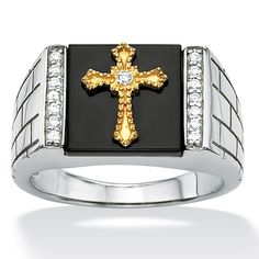 Men's Square Genuine Onyx Round Cubic Zirconia Accent Platinum Over Sterling Silver Religious Faith Cross Ring