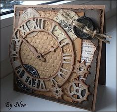 Mix media clock, DIY, Up-cycled Masculine Birthday Cards, Birthday Cards For Men, Masculine Cards, Male Birthday, Paper Cards, Diy Cards, Steampunk Cards, Fathers Day Cards, Marianne Design