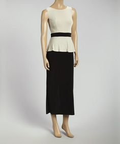 Another great find on #zulily! Stone & Black Color Block Peplum Midi Dress #zulilyfinds