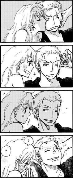 Zoro and Nami haha shouldn't play with fire Nami~ :)