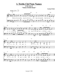 "Cute song to remember the treble clef - set to ""Yankee Doodle Dandy"" and it is free!"