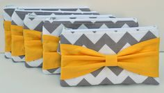 Bridesmaid Gift Set of 6 Chevron Bow Clutch Choose by ChickSprings, $118.00 would definitely need a different color bow