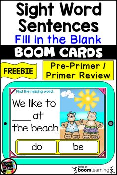Kindergarten and first grade students need lots of fun practice with sight words! This FREE review deck of 10 BOOM digital task cards is an interactive, engaging, no prep, no paper method of providing that reading work for your beginning and emergent readers…and they're self-checking! Many Pre-Primer and Primer sight words are used. Boom Cards can be played on computers, tablets, and Smartboards. They can be used in literacy centers and during whole group reading instruction. #sightwords Sight Word Sentences, Sight Words List, First Grade Sight Words, Reading Practice, Reading Groups, Guided Reading, First Grade Phonics, First Grade Lessons, Emergent Readers