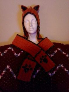 Handmade crochet adult fox hat with attached scarf