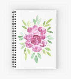 Burgundy + Pink Peonies Bouquet Spiral Notebook   Watercolor Notebook   Office Supplies   School Supplies
