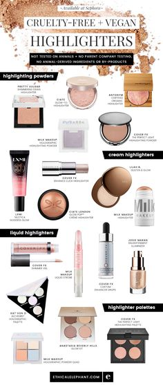 Cruelty-free and vegan highlighter options available at Sephora!  Not tested on animals, no parent company animal testing, and no animal ingredients.