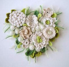 crochet heart corsage brooch pin of flowers pretty and romantic embellishment would look good in lots of groups on a alternative folk art,boho,mexican wedding dress