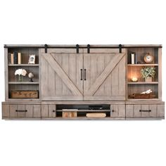 "Barn Door Floating TV Stand Entertainment Center - Farmhouse - Driftwo - Woodwaves Total Dimensions: 114""W x 16 3/8""D x 52 3/4""H TV Opening: 59""W x 38""H"