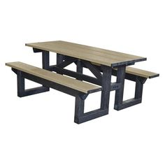 Outdoor Polly Products Tuff Step Thru Recycled Plastic Picnic Table Brown Frame Weathered Wood Top - PTST6-BROWNFRAME-WEATHEREDTOP